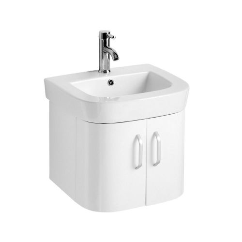Vermont 500mm White Gloss Wall Hung Cabinet & Basin - 1 Tap Hole